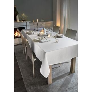 Festliche Tischdecke in Leinenoptik mit Glitzer Die wohl schönste Festtagstischdecke. Pflegeleichter Luxus zum erfreulich günstigen Preis.