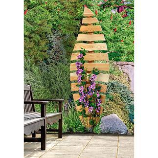 Rankhilfe In organischer Form bildhauerisch gestaltet. Langlebig robust aus massivem Lärchenholz.