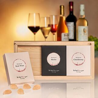 TheRealWineGum®Trio Lifestyle-Neuheit und Luxusgenuss für Weinliebhaber. Köstlich und einzigartig aromatisch.