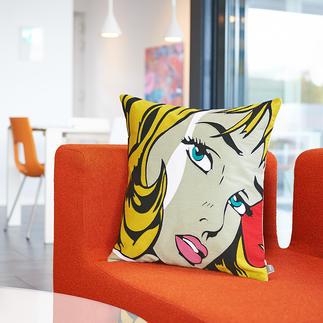 Pop-Art-Kissenhülle In präziser Einfaden-Kettstich-Technik entsteht das starkfarbige, ikonische Dessin.
