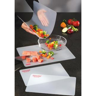 Flexible Schneidbretter, 4er-Set Befördert alles Geschnittene sauber in Topf, Pfanne oder Schüssel.