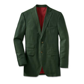 Das grüne Woll-Leinen-Sakko ist eine elegante, zeitgemässe Alternative, die nie aufdringlich wirkt. Exklusives Tuch vom traditionsreichen italienischen Edelweber Tallia di Delfino. Verarbeitung mit 8 Taschen.