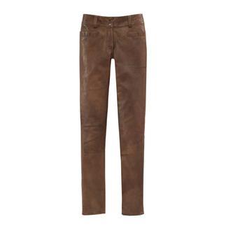 Die Hose aus softem Lammleder: exquisit verarbeitet und von Hand gefinished. Dank des breiten Bundes und des rückwärtigen Sattels sitzt sie perfekt auf Figur.