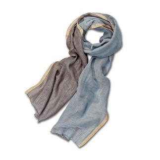 Der Schal mit zwei Farben für unendliche Kombinationen. Federleicht. Modisch aktuell. Und viel stilvoller als herkömmliche Baumwoll-Schals. Von alpi.