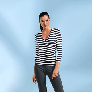 Das Zauber-Shirt: zauberhaft weich durch 95 % Viskose. Zauberhaft vielseitig durch schwarz-weisse Ringel. Und: Dieses Shirt zaubert eine gute Figur - dank Elasthan und perfektem Schnitt. Nur richtig in Schwarz/Weiss.