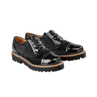Der Casual-Brogue. Bequem wie Sneakers. Dabei elegant genug zum schwarzen Hosenanzug. Von Casanova, Italien. Wiegt dank Ultraleicht-Sohle nur 230 g, trotzdem dämpfend und isoliert gegen Bodenkälte.