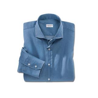 Das Jeanshemd, was sogar zum Anzug passt. Edler Vollzwirn-Denim – klassisch konfektioniert. Von Hemden-Spezialist Claude Dufour.