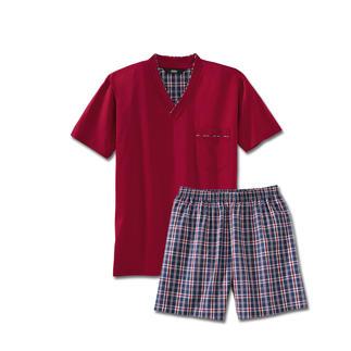 Der Lieblings-Pyjama zum kleinen Preis. Made in Germany von einem leistungsfähigen Spezialisten aus Sachsen. Weiches Jersey-Shirt in frischem Rot. Shorts in dezentem, blau/rot/weissem Karo.