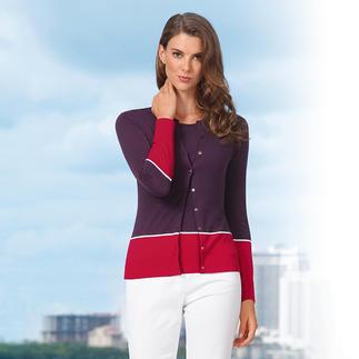 Das Feinstrick-Twinset von John Smedley/England. Purer Luxus aus wertvoller Sea Island-Baumwolle. Das aktuelle Colour Blocking lässt sich wunderbar kombinieren. Fully fashioned im 30-Gauge Strickverfahren..