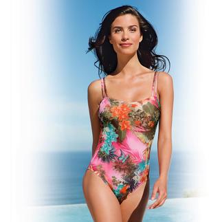 Dieser Badeanzug wirkt wie eine gute Sonnencreme. Aus SunSelect® – mit aussergewöhnlichen Blumen-Aquarellen. Der spezielle SunSelect®-Jersey lässt die zur sanften Bräunung notwendigen UV-Strahlen durch.