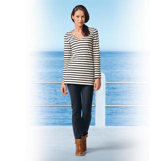 Die Jeggings: sieht aus wie eine knackige Jeans, dabei bequem wie eine Leggings. Kein Knopf, kein Reissverschluss - so zeichnet sich nichts unter engen Oberteilen ab.