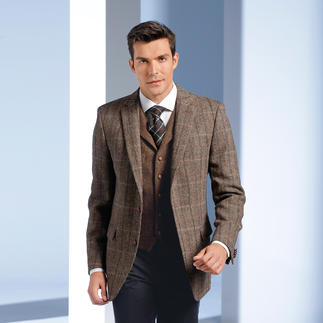 """Die original Harris-Tweed-Kombination von den Äusseren Hebriden – aber viel feiner und leichter als üblich. Sakko und Weste in handgewebter """"New Superfine""""-Qualität. Unempfindlich und kombinierfreudig. Von Carl Gross."""