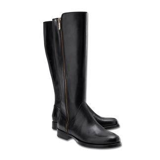 Die Samsonite Footwear Flat Boots - elegante, flache Stiefel zum erfreulichen Preis. Feminin schmaler Leisten. Hochwertiges, poliertes Rindleder. Goldfarbener Reissverschluss.
