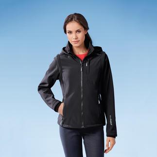 Die Jacke aus Softshell, mit WindProtect®. Schlank, leicht und trotzdem warm. Winddicht. Wasserabweisend. Atmungsaktiv.