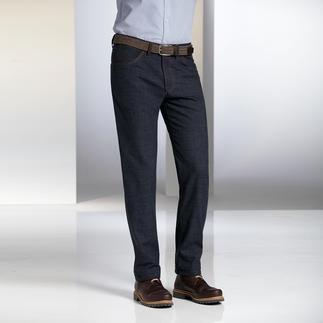 Die Woll-Jeans. Vom Hosen-Sepzialisten Dimensione. Bequem elastisch. Weich und geschmeidig auf der Haut. Bleibt dauerhaft in Form und beult nicht.