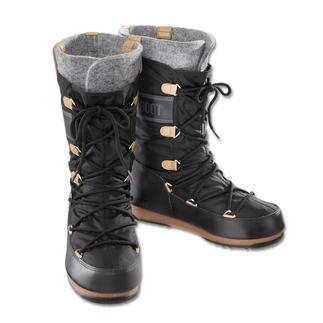 Der warme, wasserdichte, rutschfeste Moon Boot®. Jetzt in citytauglicher Form und zeitgemässem Design. Optisch nah am Original. Aber mit alltagstauglich schmalerem Leisten.