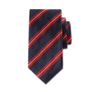 """Die Seidenkrawatte mit klassisch britischen """"Regimental Stripes"""" - das Krawattendessin echter Gentlemen. Italienische Seide aus Como. Jetzt zeitgemäss schmale 7,5 cm breit. Bei Ascot in Krefeld handgenäht."""