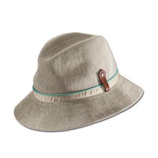 Der Schönwetter-Hut vom britischen Traditions-Hersteller Kangol®, seit 1938. Gestrickt statt gewebt: Luftiger. Sommerlicher. Und aussergewöhnlich edel.