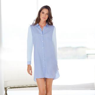 Das elegante Big-Shirt mit bequemen Baumwolljersey-Einsätzen. Vorderseite im Hemdenstil korrekt gewebt. Rücken und Ärmel elastisch gewirkt.