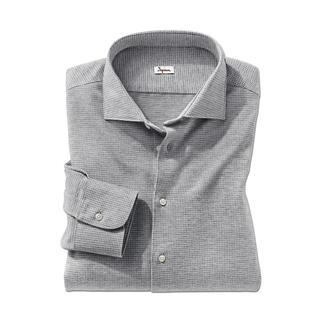 Das Jersey-Hahnentritt-Hemd: Bequem wie ein T-Shirt. Weich wie ein Flanellhemd. Korrekt wie ein Businesshemd. Soft angerauter Jersey mit klassischem Hahnentritt-Dessin. Die Optik ist uninah und doch lebendig.
