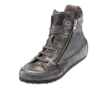 Der italienische Edel-Sneaker nach dem Vorbild des ersten Turnschuhs. Geprägtes Leder im Silver-Vintage-Look + stylische Zipper.
