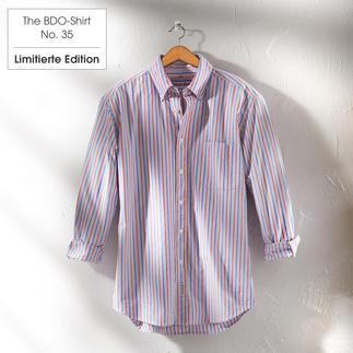 Das gestreifte BDO-Shirt No. 35 aus luftig feinem Oxfordgewebe Es ist grosszügig gerfertigt, nichts engt Sie ein.