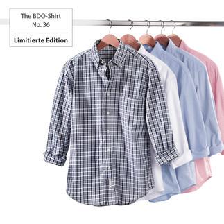 Das gestreifte BDO-Shirt No. 36 aus luftig feinem Oxfordgewebe. Es ist grosszügig gerfertigt, nichts engt Sie ein.