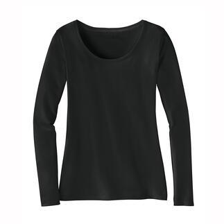 Das perfekte, winterwarme Basic-Shirt. Leicht. Weich. Atmungsaktiv. Gelungene Komposition aus Pima-Cotton und Baby-Alpaka. Von Kero Design, Peru.