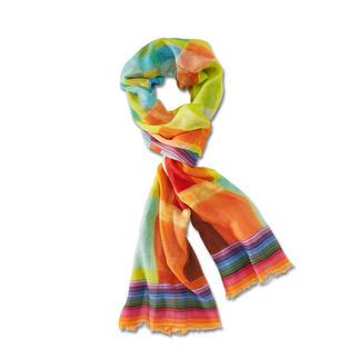 Der vielfarbige Ganzjahres-Schal aus Wolle mit Seide. Nicht zu dünn. Nicht zu warm. Und farblich immer richtig.