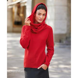 Der Kaschmir-Pullover mit XXL-Vario-Kragen. 1 Pullover – 3 Looks. Leicht wie ein Sommerpulli, aber wohlig wärmend und flaumweich.