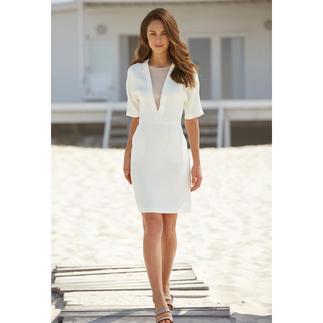 Das selten elegante, selten vielseitige weisse Sommerkleid. Perfektes Material. Cleaner Schnitt. Variabler Gürtel.
