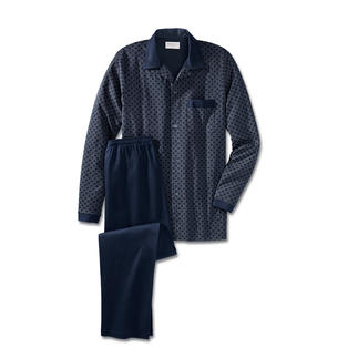 Der bequeme Gentleman-Pyjama aus weichem Baumwoll-Jersey. Perfekt, auch wenn die Post unverhofft kommt.