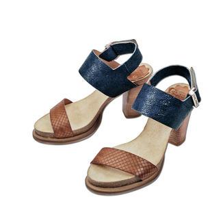 Die Blockabsatz-Sandalette made in Portugal. Von Coque Terra. Herrlich bequem dank Kork-Latex-Fussbett. Trotzdem modisch schlank und elegant.