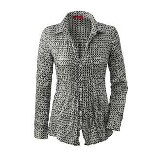 Die Bluse aus feinem Seidencrash, die Sie nie zu bügeln brauchen. Das platzsparende Leichtgewicht passt in jeden Reisekoffer.
