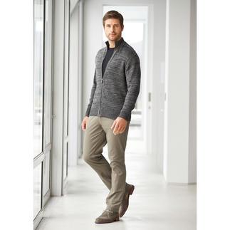 Die luftige Leinen-Zipp-Jacke in angesagter Grau-Melange. Strickkunst made in Ireland.