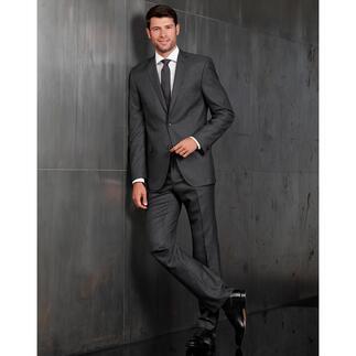 Der modische Anzug in Premium-Qualität für nur 499,– Euro. Selten lebendiges Minimaldessin. Aussergewöhnlich edles Schurwolltuch mit Seide.