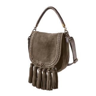 Die 5-fach modische Saddle Bag vom Taschenspezialisten Anokhi. Ethno-Style. Troddeln. Veloursleder. Oliv. Flechtung.