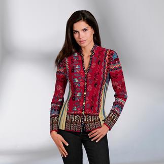 Die Jacke aus aussergewöhnlich vielfarbigem Jacquard-Strick. Eine Rarität aus Serbien. Von IVKO.
