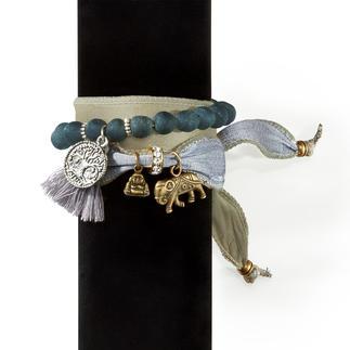 Das Wickelarmband aus prächtigen Vintage-Saris und ghanaischen Perlen. Jedes ein Unikat. Handgefertigt in Spanien.