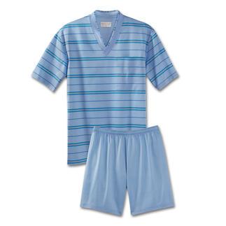 """Der """"Filo di Scozia®""""-Shorty, der halb so dick – aber doppelt so haltbar – ist wie ein üblicher Jersey-Pyjama. Formtreu, flusenfrei und so gut wie bügelfrei. Vom Wäschespezialisten NOVILA im Schwarzwald gefertigt."""