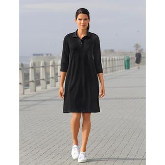 Das Polo-Kleid aus luftigem Baumwoll-Mesh. Von Sunspel, England. Schwarz bei 30 °C im Schatten? Ja!