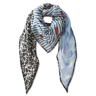 Das XXL-Dreiecktuch vereint die wichtigen Muster-Trends der Saison. Leoprint, Blumen & Streifen.