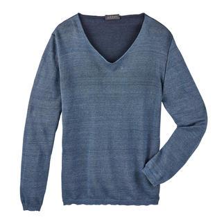 Der herrlich leichte Doubleface-Pullover aus feiner Leinen/Baumwoll-Mischung. Trotz Doubleface-Strickart trägt Ihr Pullover selbst unter einem Sakko nicht auf.