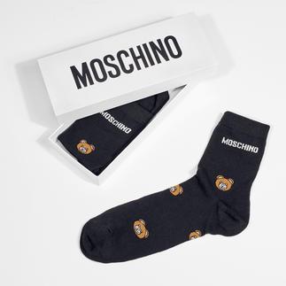 Das ideale Geschenk für alle Fashionistas: Moschino Teddy-Socken und Wording-Kniestrümpfe. Stilvoller Look, erschwinglicher Preis, noble Verpackung.