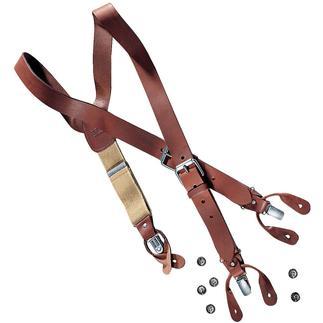 Die Hosenträger aus echtem Leder. Hand-made in England. Traditionell zum Knöpfen. Oder praktisch mit Clips.