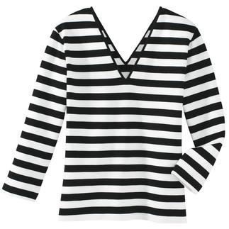 Das Zauber-Shirt: zauberhaft weich durch 95 % Viskose. Zauberhaft vielseitig durch schwarz-weisse Ringel. Und: es zaubert eine gute Figur - dank 5 % Elasthan und dem perfekten Schnitt. Nur richtig in Schwarz/Weiss.