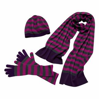 30 Gauge-Doppel-Schal, -Beanie-Mütze oder -Stulpenhandschuhe Feinere Strickaccessoires werden Sie kaum finden. 30 Gauge-Merino-Feinstrick, ganz ohne störende Nähte.