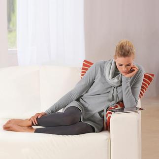 Das Sweatshirt-Kleid aus extraweichem Jersey: Bequem wie ein Homesuit. Aber viel charmanter. Mit Leggings wird ein Casual-Ensemble für kühlere Tage daraus - mit Röhrenjeans ein ausgehfertiges Outfit.