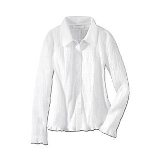 Die wohl unkomplizierteste weisse Bluse, die Sie je hatten. Crash: Bequem, elastisch und immer in Bestform. Dank des Crash-Gewebes knittert sie nicht, ist so gut wie bügelfrei und dadurch immer einsatzbereit.