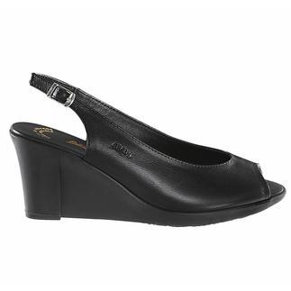 Die Latex-Keil-Sandale: modischer Absatz und trotzdem bequem. Stoss absorbierendes Latex macht den Keilabsatz so aussergewöhnlich flexibel. Von Arcus®.